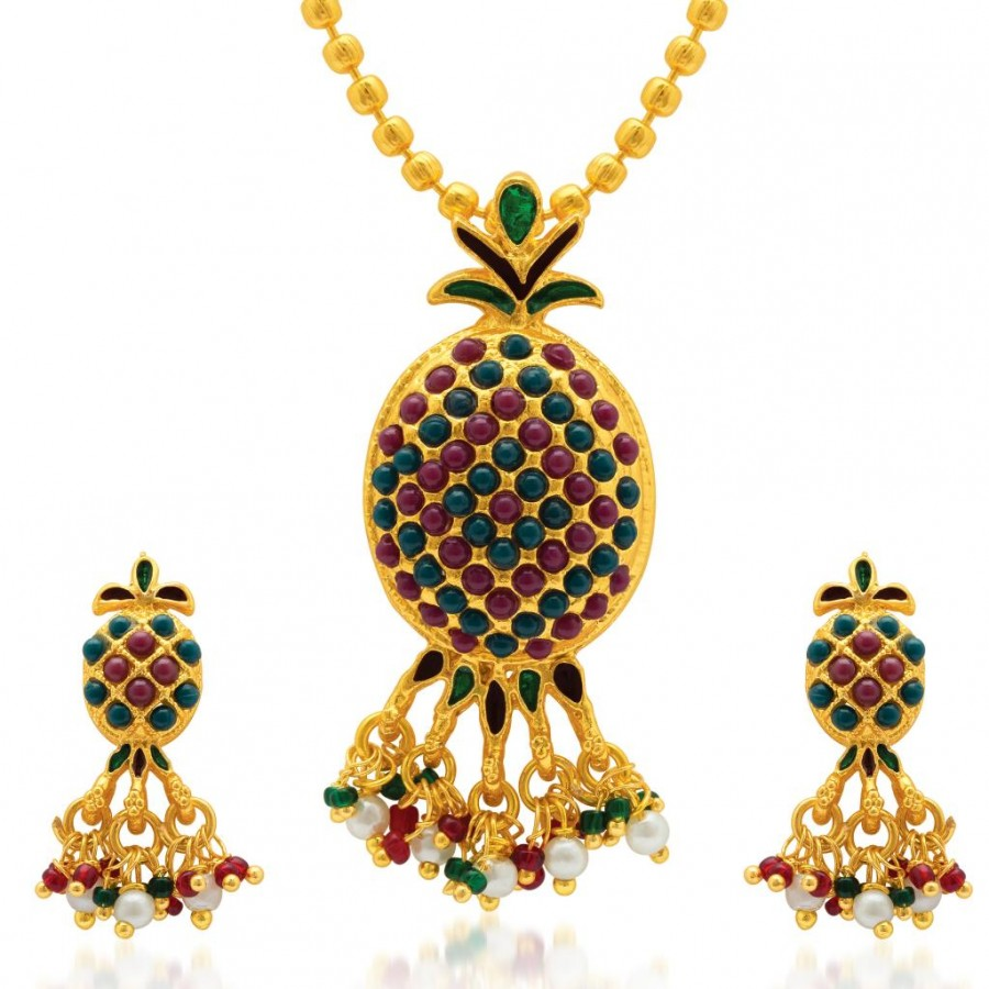 Buy Sukkhi Modern Gold Plated AD Pendant Set for Women Online