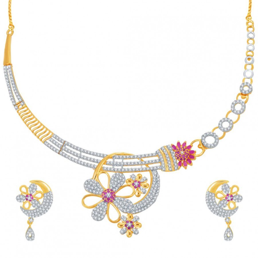 Buy Pissara Incredible Ruby Studded Gold and Rhodium Plated CZ Necklace Set Online