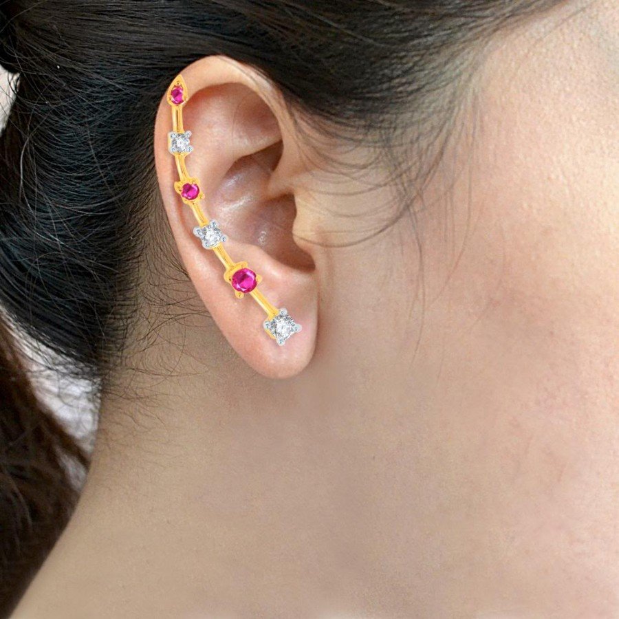 Buy Pissara Pleasing Gold and Rhodium Plated Cubic Zirconia and Ruby Stone Studded Ear cuff Online