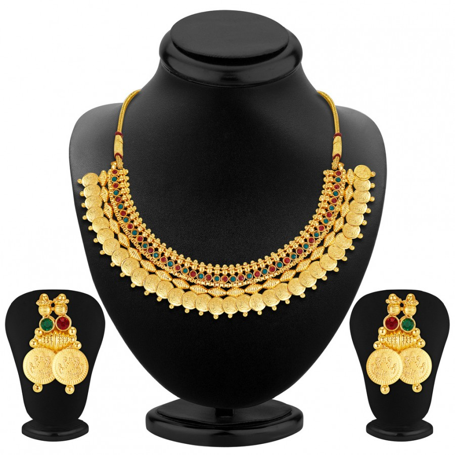 Buy Sukkhi Glimmery Gold Plated Temple Jewellery Necklace Set Online
