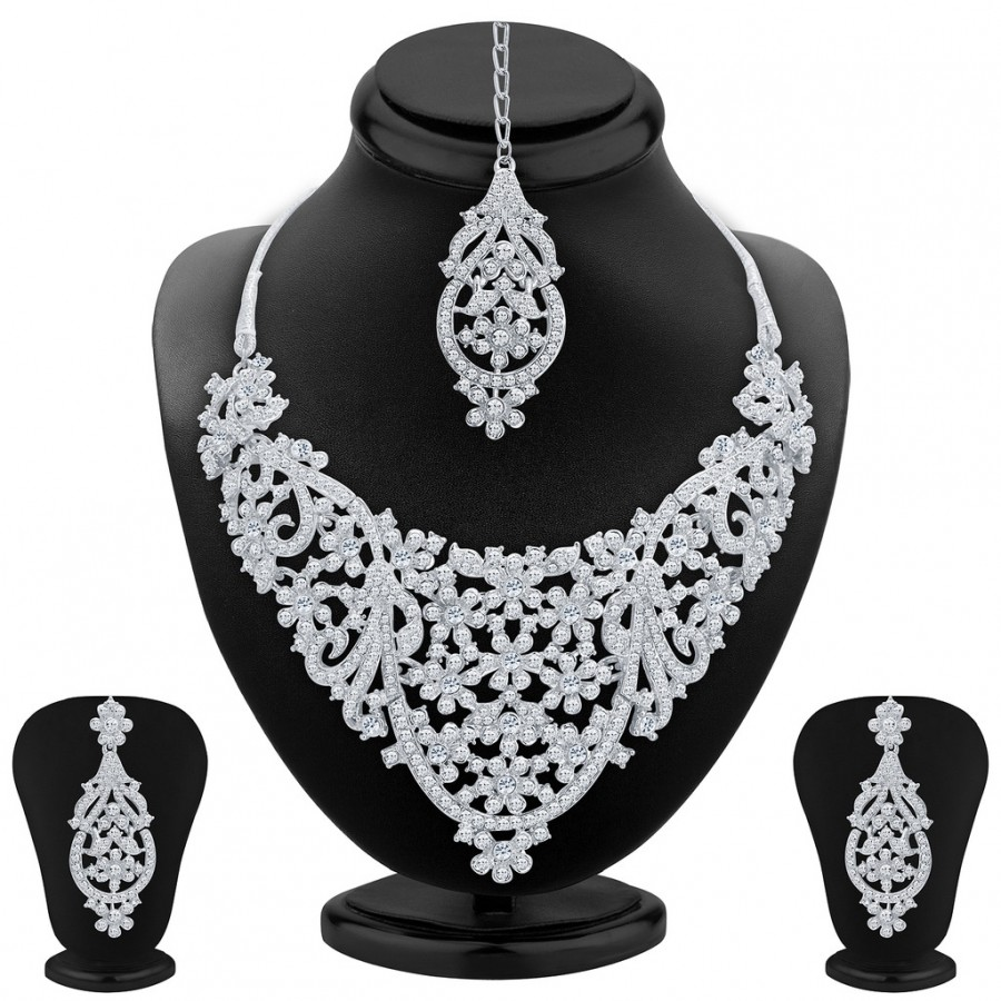 Buy Sukkhi Delightly Rhodium Plated AD Necklace Set For Women Online