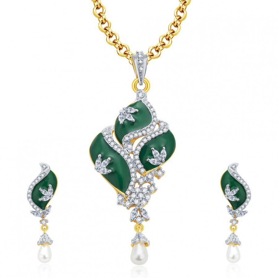 Buy Pissara Majestic Gold And Rhodium Plated CZ Pendant Set For Women Online