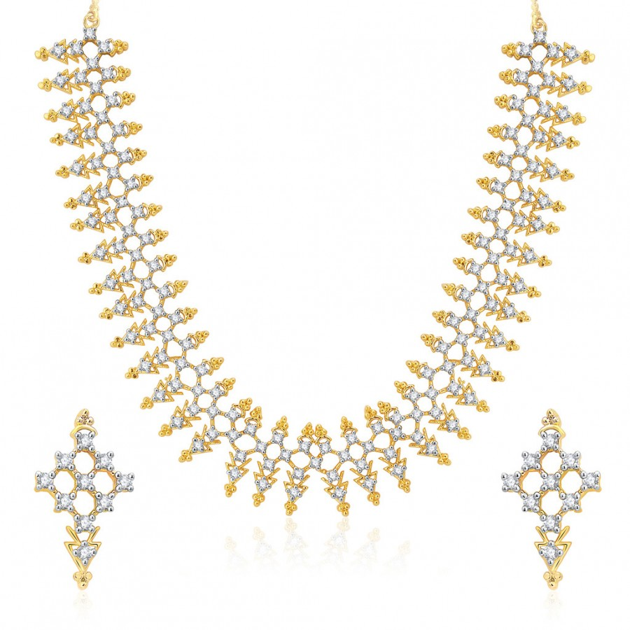 Buy Pissara Posh Gold And Rhodium Plated CZ Neklace Set For Women Online