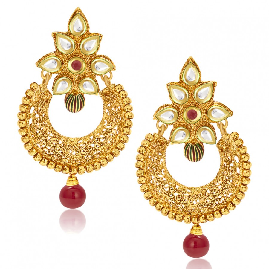 Buy Sukkhi Dazzling Gold Plated Kundan Chandbali Earring For Women Online