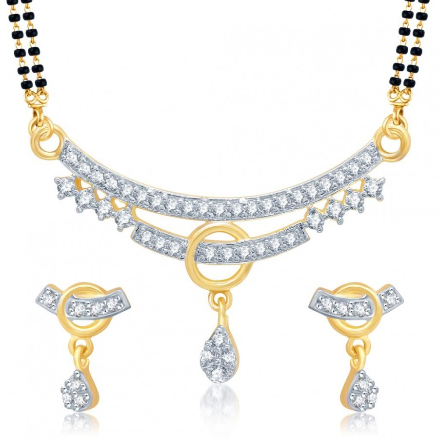 Buy Pissara Lavish Gold and Rhodium Plated Cubic Zirconia Stone Studded Mangalsutra Set Online