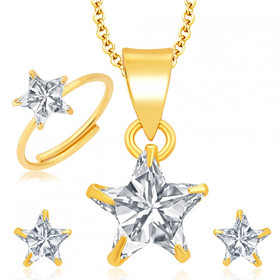 Buy Pissara Delightly Gold and Rhodium Plated CZ Pendant Set - Ring Combo For Women Online