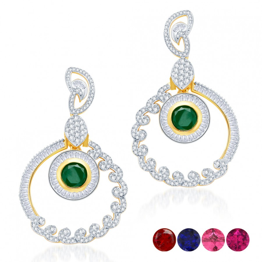 Buy Pissara Incredible Gold and Rhodium Plated Cubic Zirconia Earrings Online
