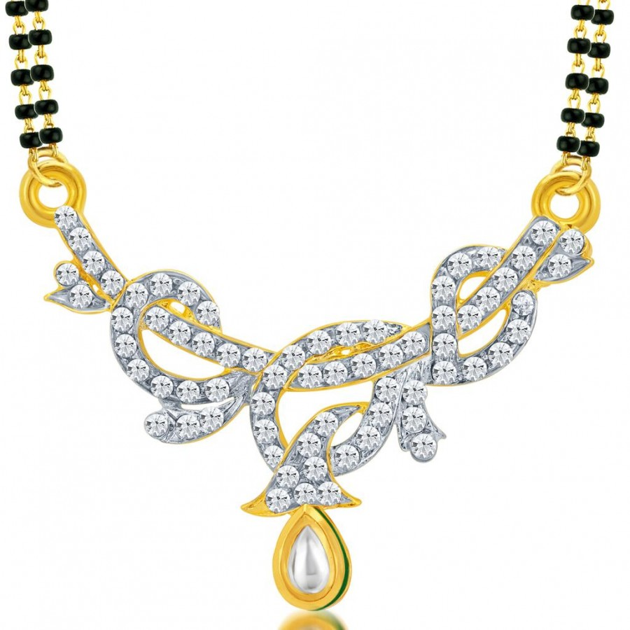 Buy Sukkhi Charming Gold and Rhodium Plated AD Kundan Mangalsutra Pendant for Women Online