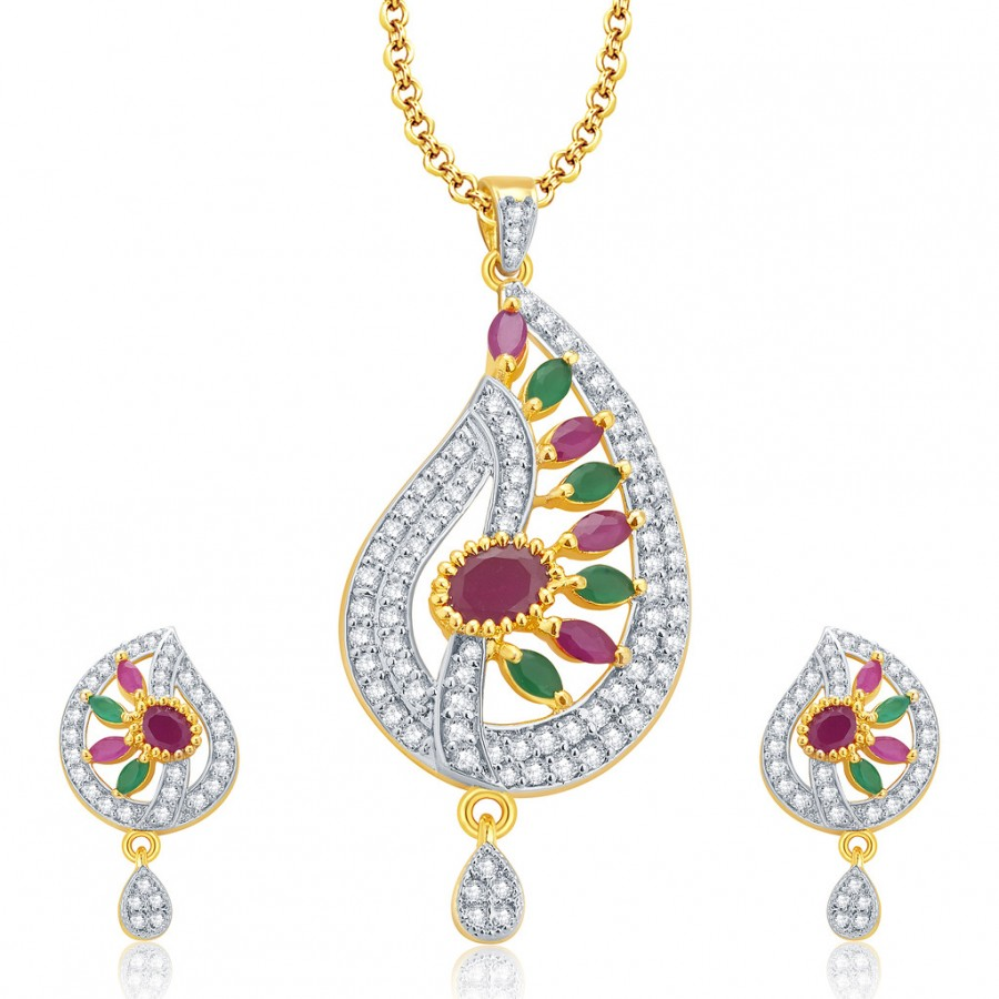 Buy Pissara Enticing Gold And Rhodium Plated Ruby CZ Pendant Set For Women Online