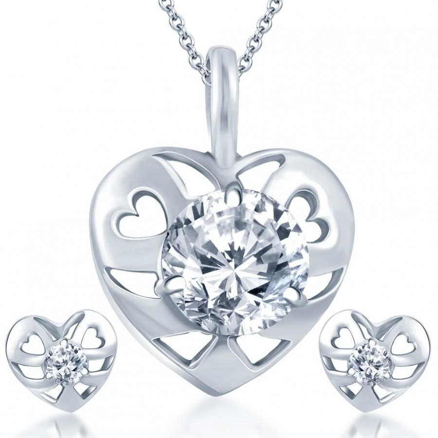 Buy Pissara Blossomy Rhodium Plated Solitaire CZ Pendant Set Online