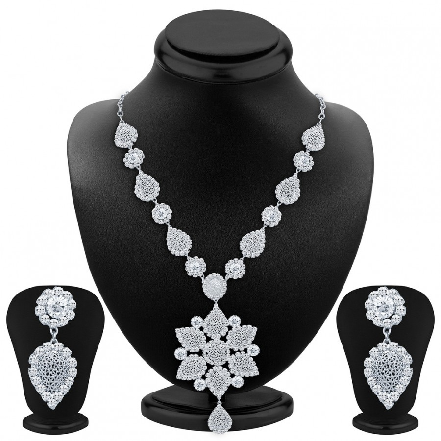 Buy Sukkhi Exquisite Rhodium Plated AD Necklace Set Online