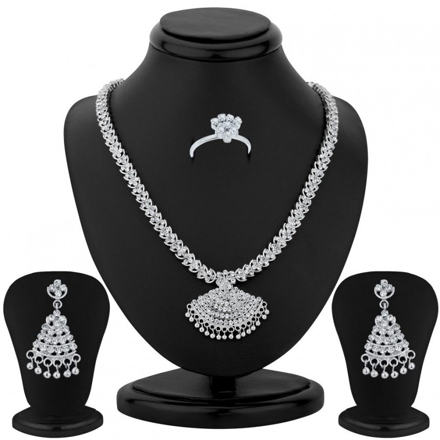 Buy Sukkhi Rhodium Plated Necklace Set - 1165VN1750 Online