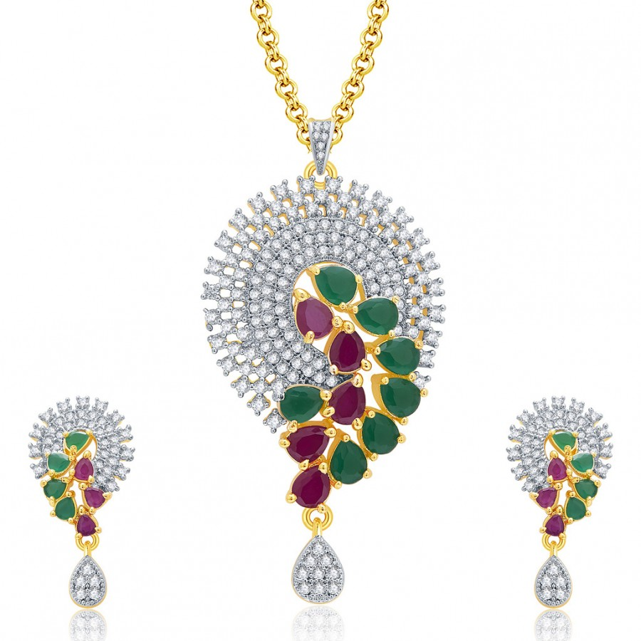 Buy Pissara Etherealgold And Rhodium Plated Ruby CZ Pendant Set For Women Online