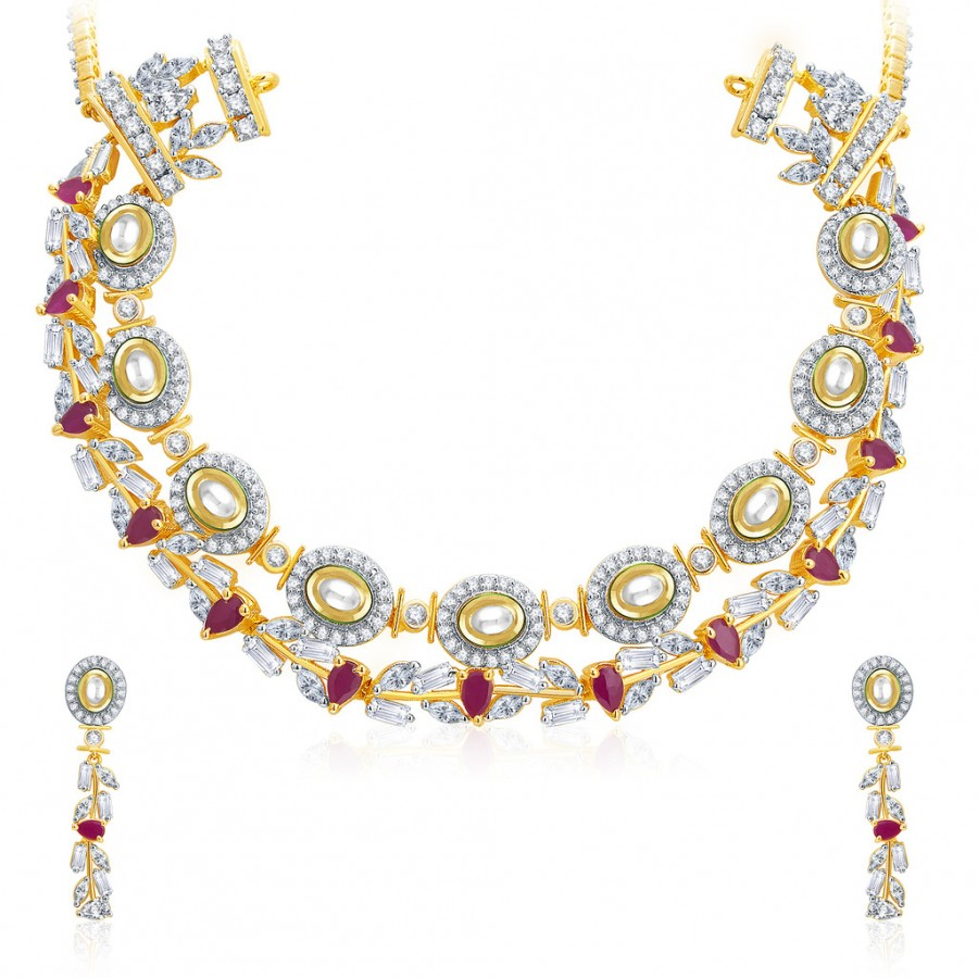 Buy Pissara Exotic Gold And Rhodium Plated Ruby CZ Kundan Neklace Set For Women Online