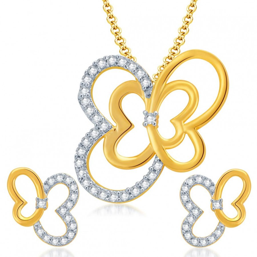 Buy Pissara Butterfly Gold and Rhodium Plated CZ Pendant Set for Women Online