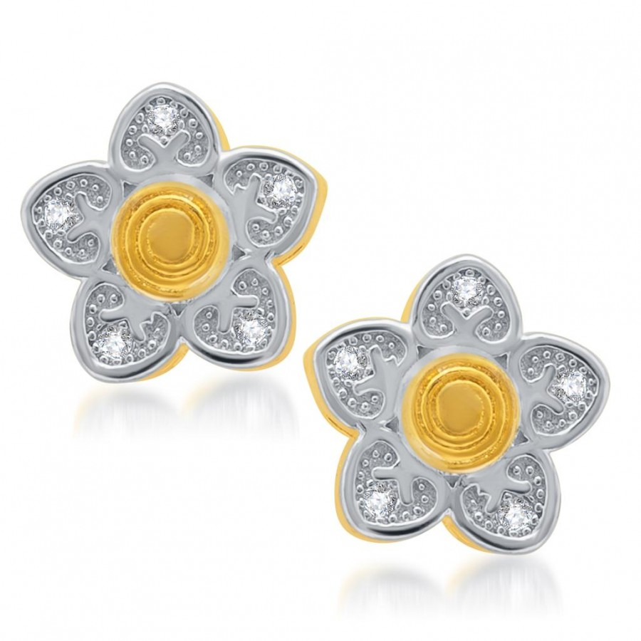 Buy Pissara Sleek Gold and Rhodium Plated Micro Pave CZ Earrings Online