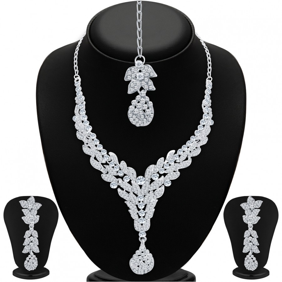 Buy Sukkhi Stunning Rhodium Plated AD Necklace Set For Women Online