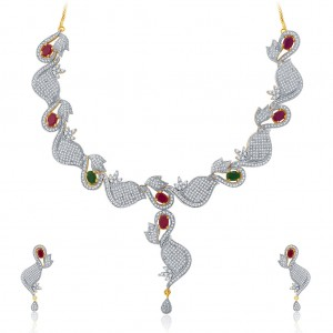 Buy Pissara Glittering Gold And Rhodium Plated Ruby CZ Neklace Set For Women Online