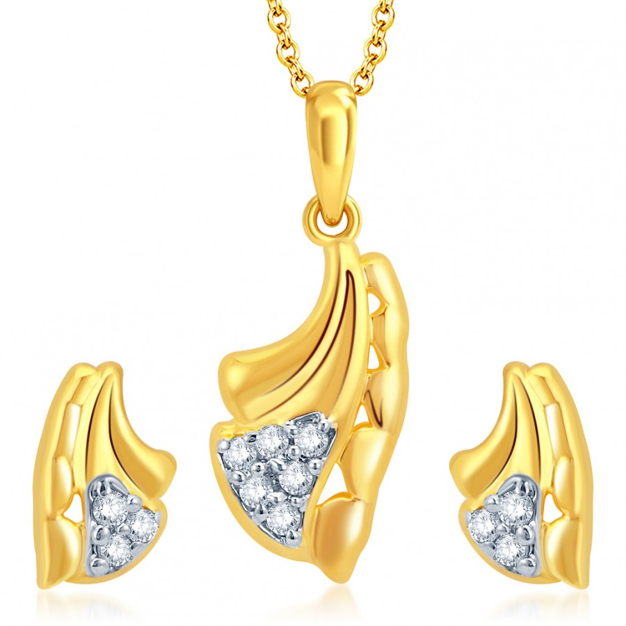 Buy Pissara Glittery Gold and Rhodium Plated CZ Pendant Set Online