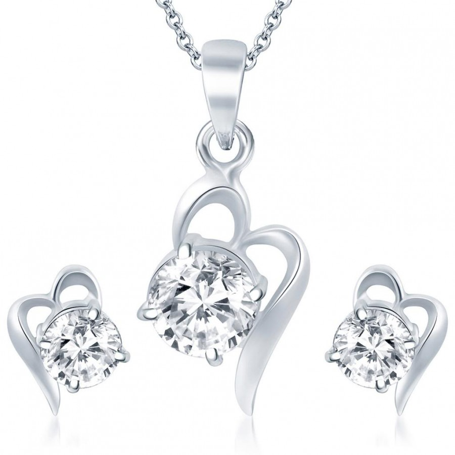 Buy Pissara Splendid Rhodium Plated Solitaire CZ Pendant Set Online