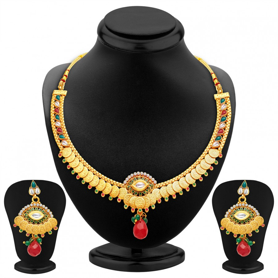 Buy Sukkhi Artistically Gold Plated Temple Jewellery Necklace Set Online