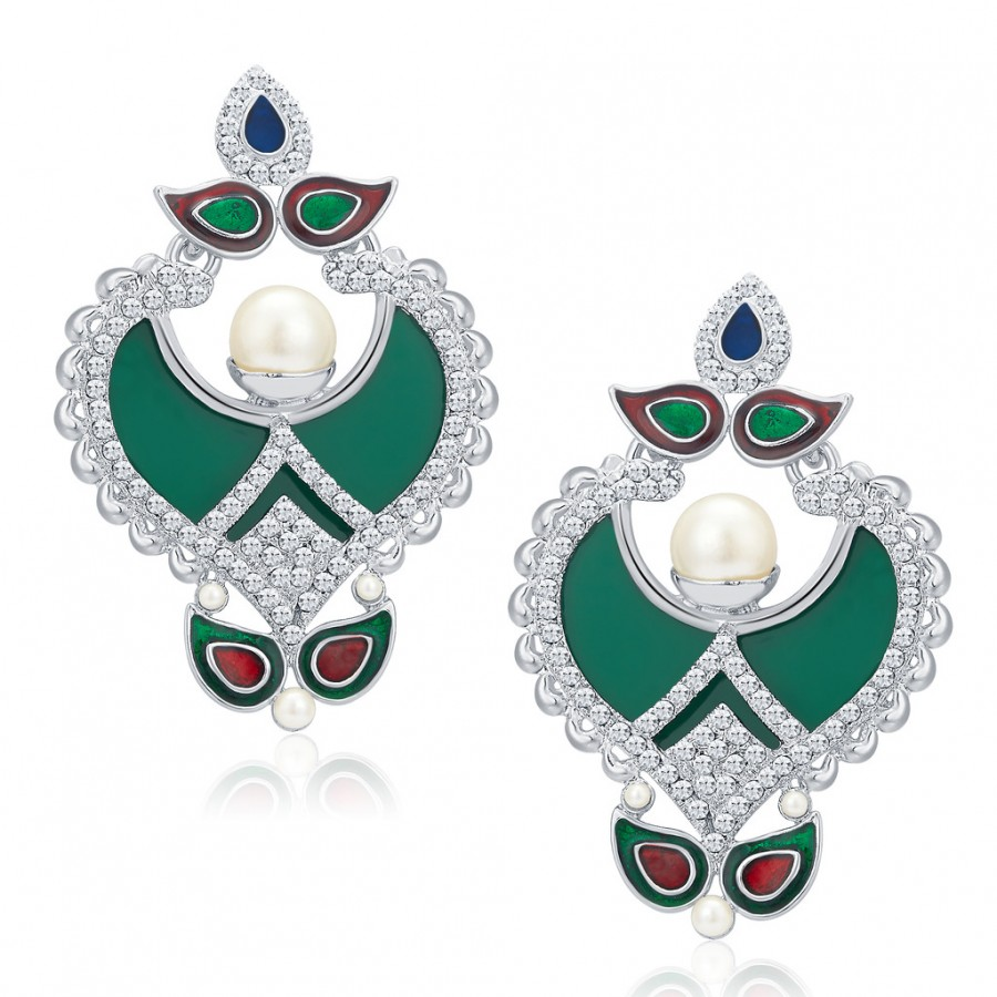 Buy Sukkhi Royal Rhodium Plated AD Earrings For Women Online