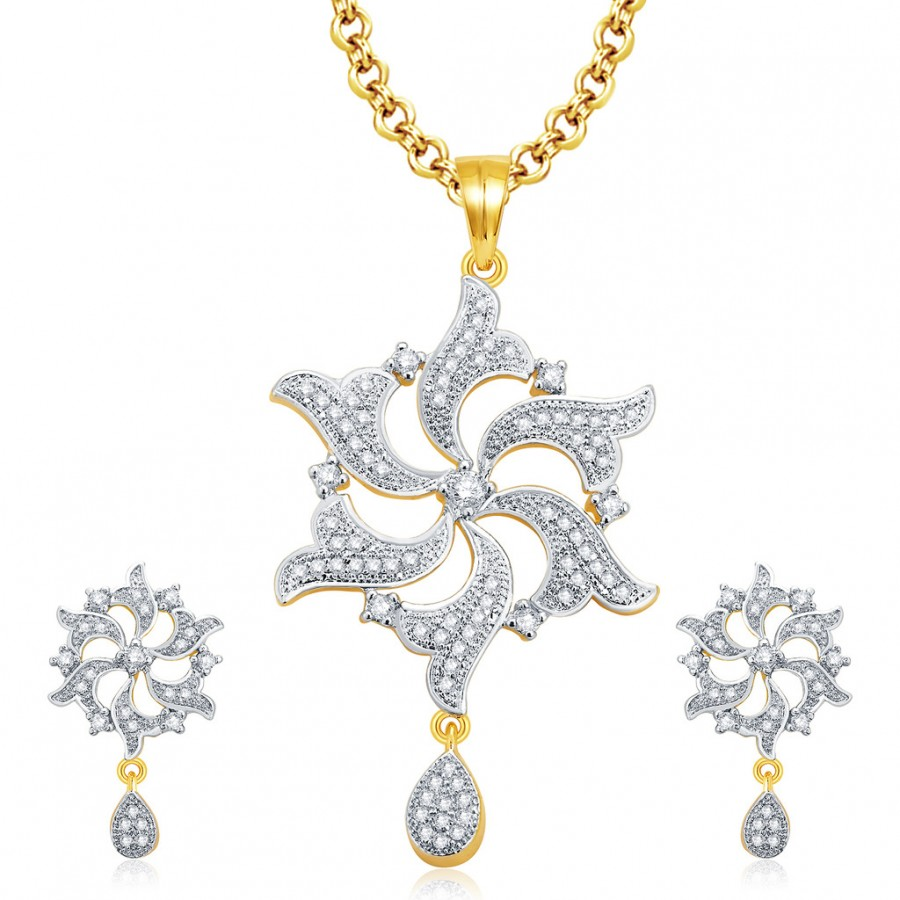 Buy Pissara Amazing Gold And Rhodium Plated CZ Pendant Set For Women Online