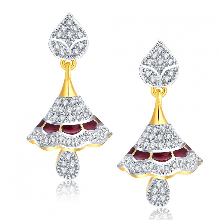 Buy Pissara Gorgeous Gold And Rhodium Plated CZ Jhumki For Women Online