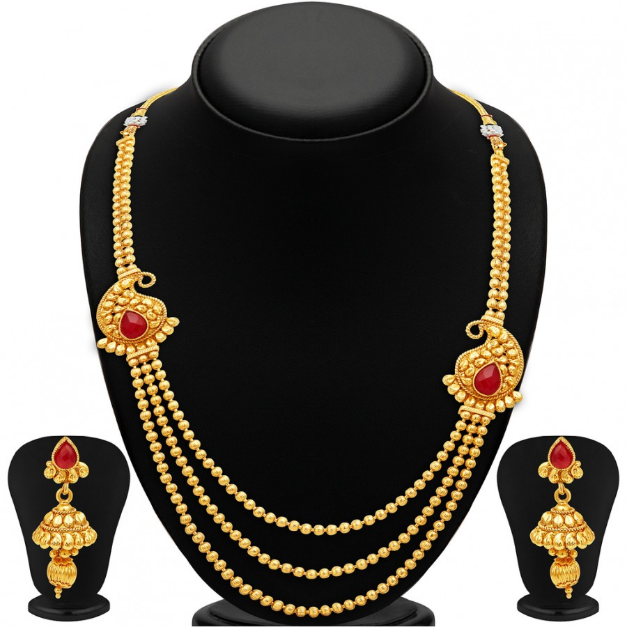 Buy Sukkhi Modish Three Strings Gold Plated Necklace Set Online
