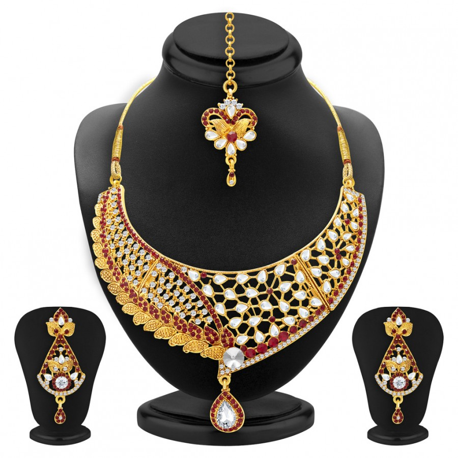 Buy Sukkhi Dazzling Gold Plated AD and Kundan Necklace Set For Women Online