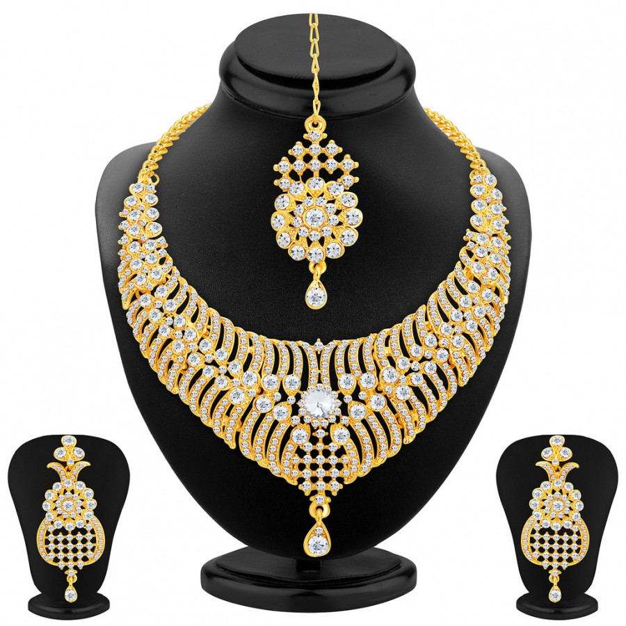 Buy Sukkhi Delightful Gold Plated AD Necklace Set For Women Online
