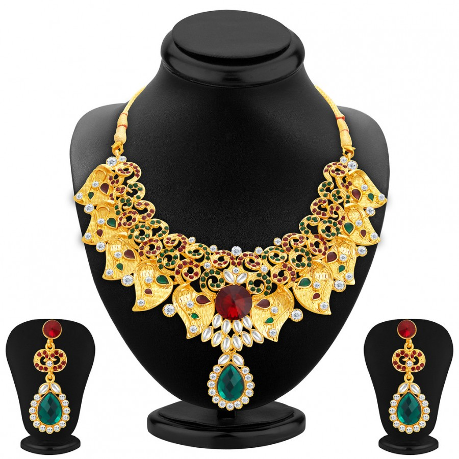 Buy Sukkhi Magnificent Gold Plated AD Necklace Set For Women Online