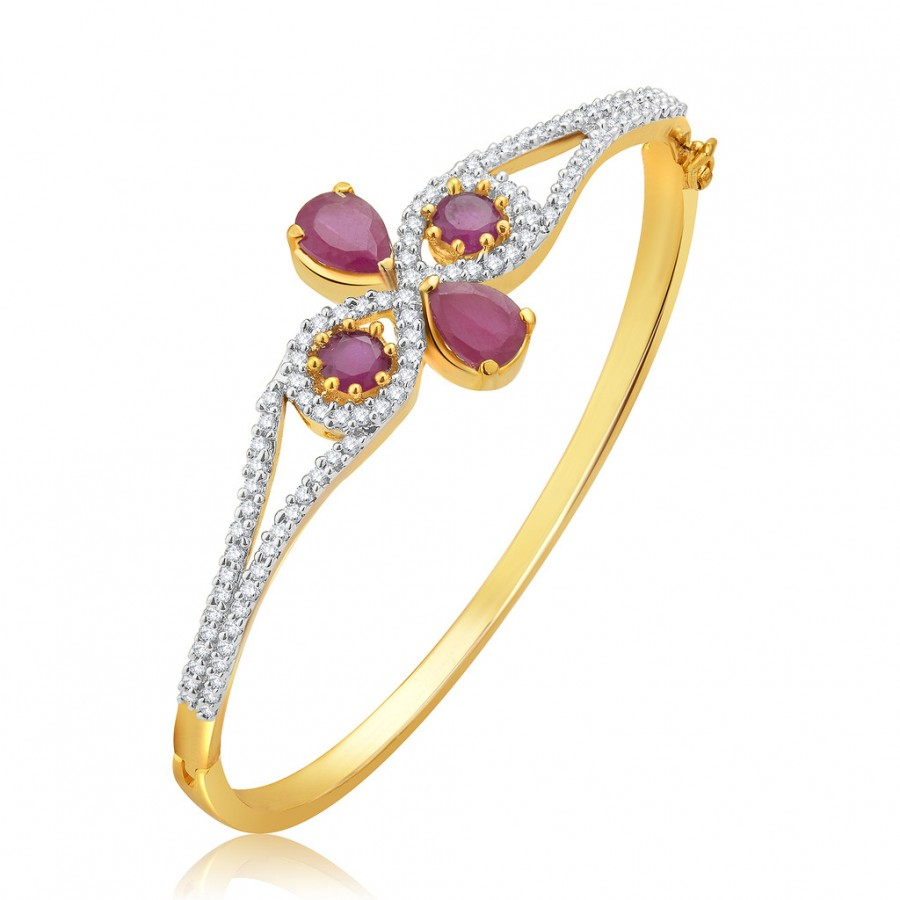 Buy Pissara Appealing Gold And Rhodium Plated Ruby CZ Kada For Women Online