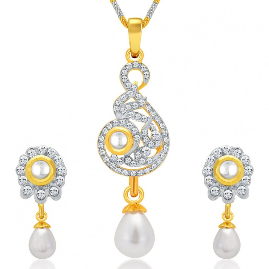 Buy Sukkhi Delightful Gold and Rhodium Plated AD Kundan Pendant Set for Women Online