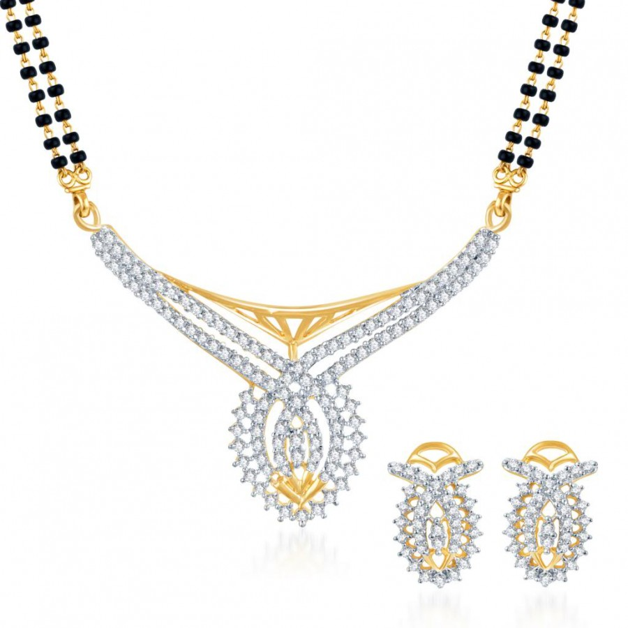 Buy Pissara Classic CZ Gold and Rhodium Plated Mangalsutra Set Online