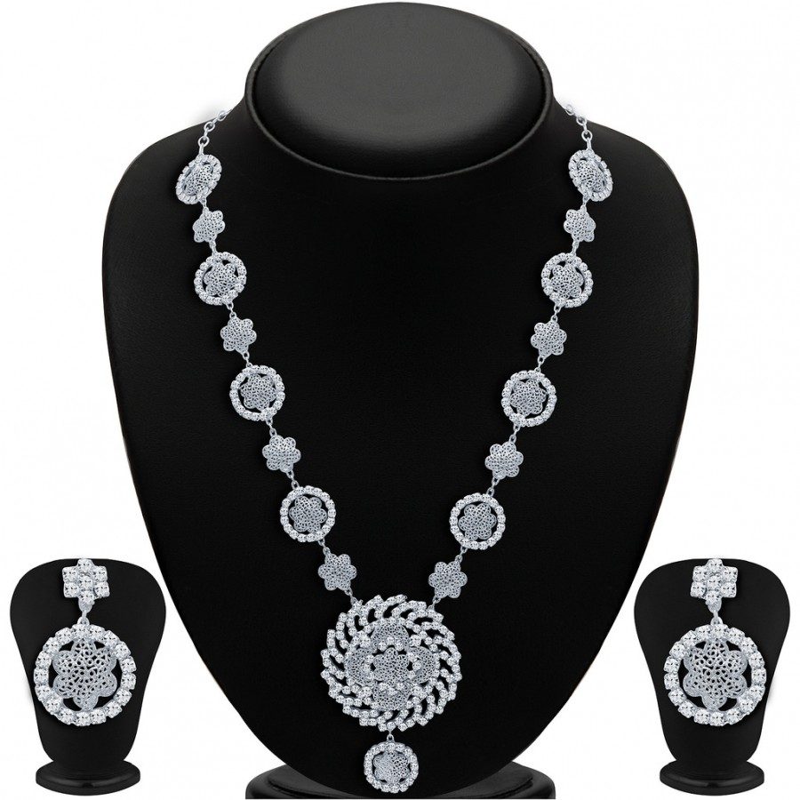 Buy Sukkhi Sparkling Rhodium Plated AD Necklace Set Online
