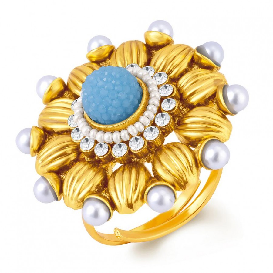 Buy Sukkhi Incredible Gold Plated Ring With AD and White Pearls Online