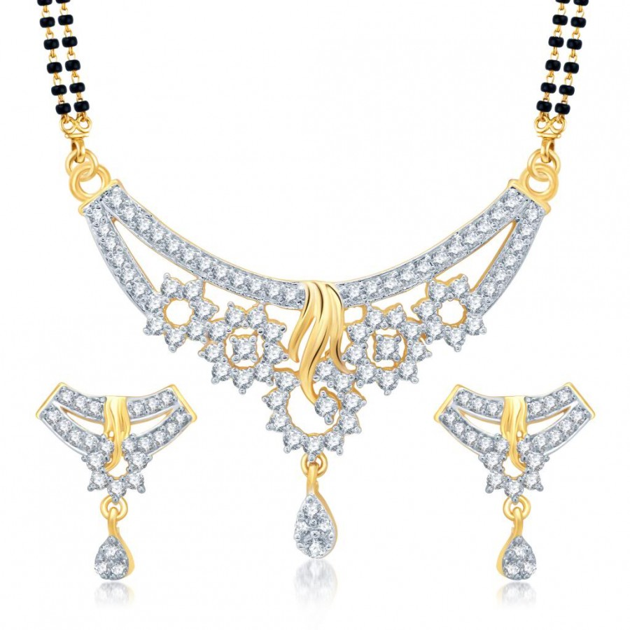 Buy Pissara Magnificent Gold and Rhodium Plated Cubic Zirconia Stone Studded Mangalsutra Set Online