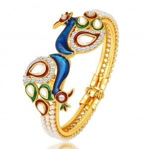 Buy Sukkhi Excellent Peacock Gold Plated Kundan Kada Online