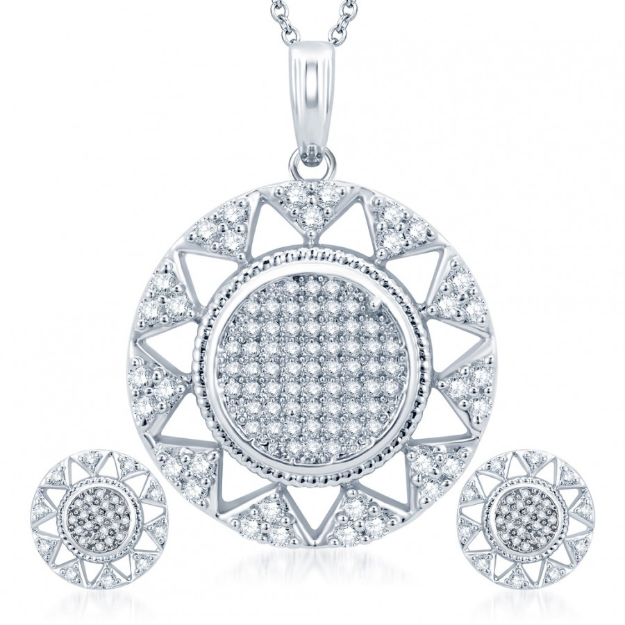 Buy Pissara Exquitely Rhodium Plated CZ Micro Pave Pendant Set Online