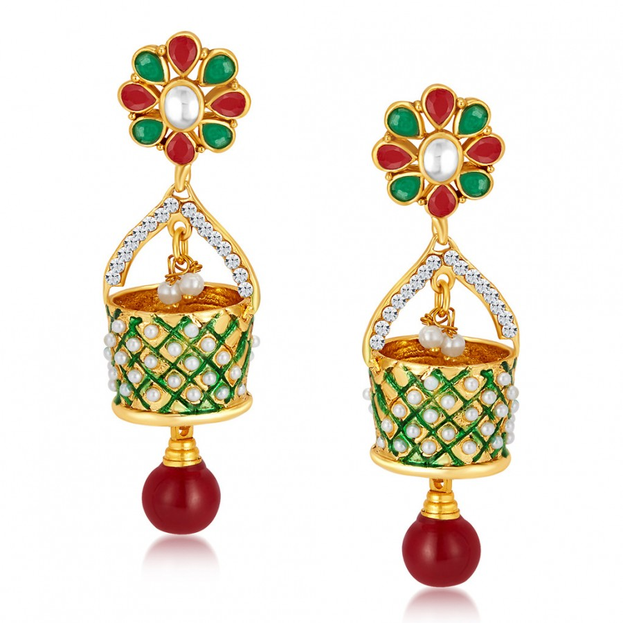 Buy Sukkhi Astonishing Gold Plated Australian Diamond Earrings Online