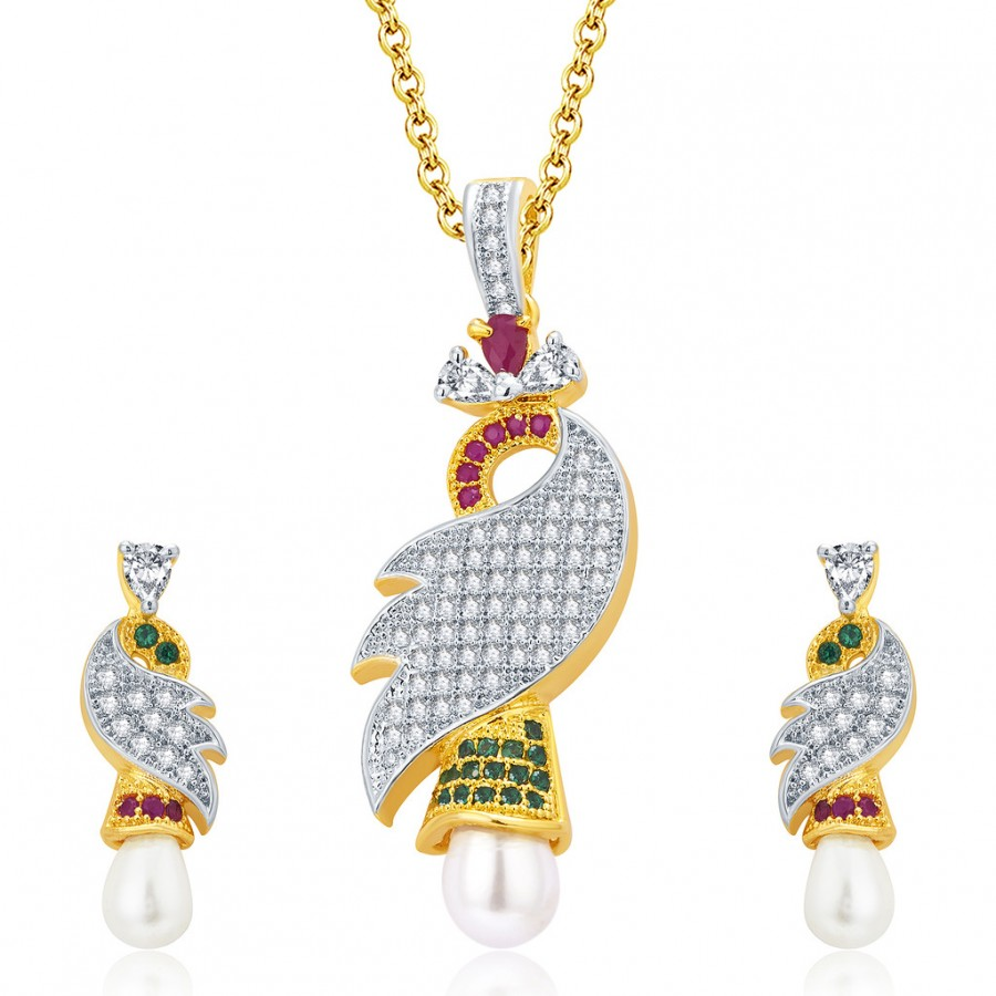 Buy Pissara Exotic Gold And Rhodium Plated Ruby CZ Pendant Set For Women Online