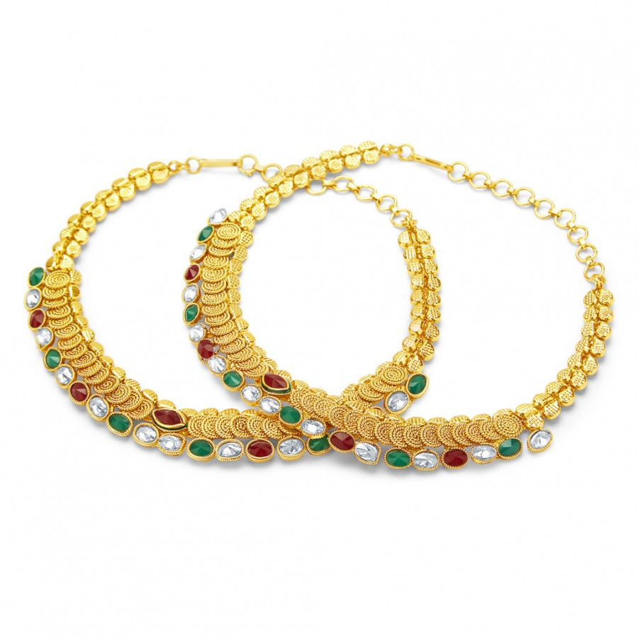Buy Sukkhi Incredible Jalebi Gold Plated AD Anklet For Women Online