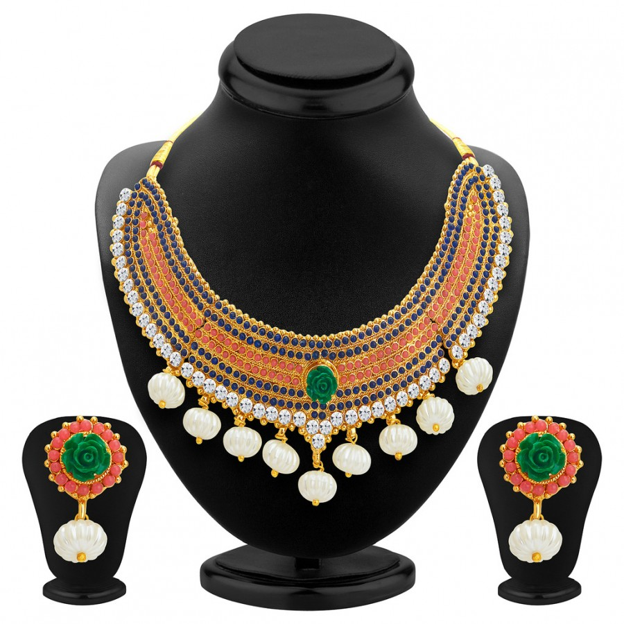 Buy Sukkhi Classy Gold Plated Kundan Necklace Set For Women Online