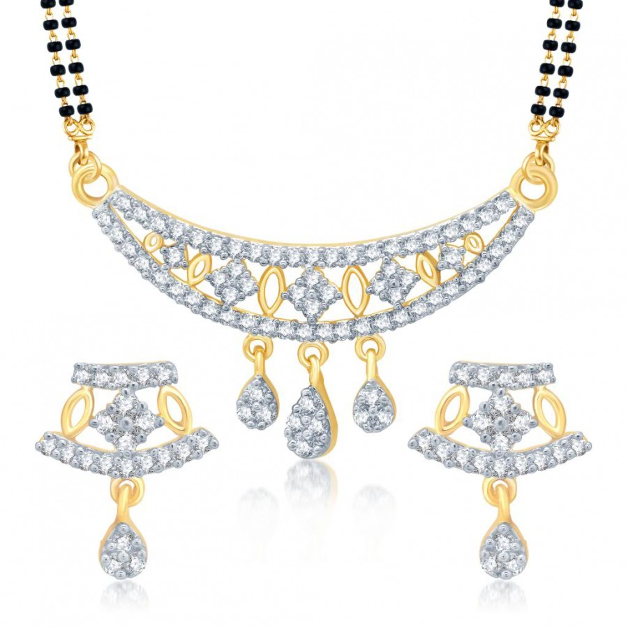 Buy Pissara Delightly Gold and Rhodium Plated Cubic Zirconia Stone Studded Mangalsutra Set Online