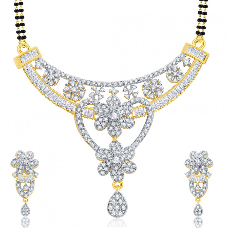 Buy Pissara Lavish Gold And Rhodium Plated CZ Mangalasutra Set For Women Online