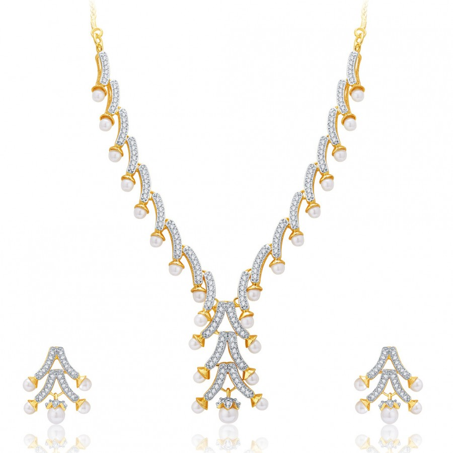 Buy Pissara Sarene Gold And Rhodium Plated CZ Neklace Set For Women Online