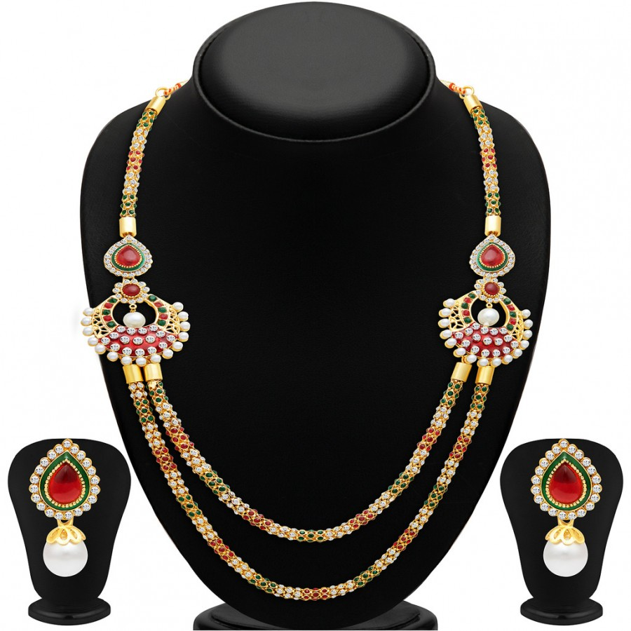 Buy Sukkhi Pretty Two Strings Gold Plated Necklace Set Online