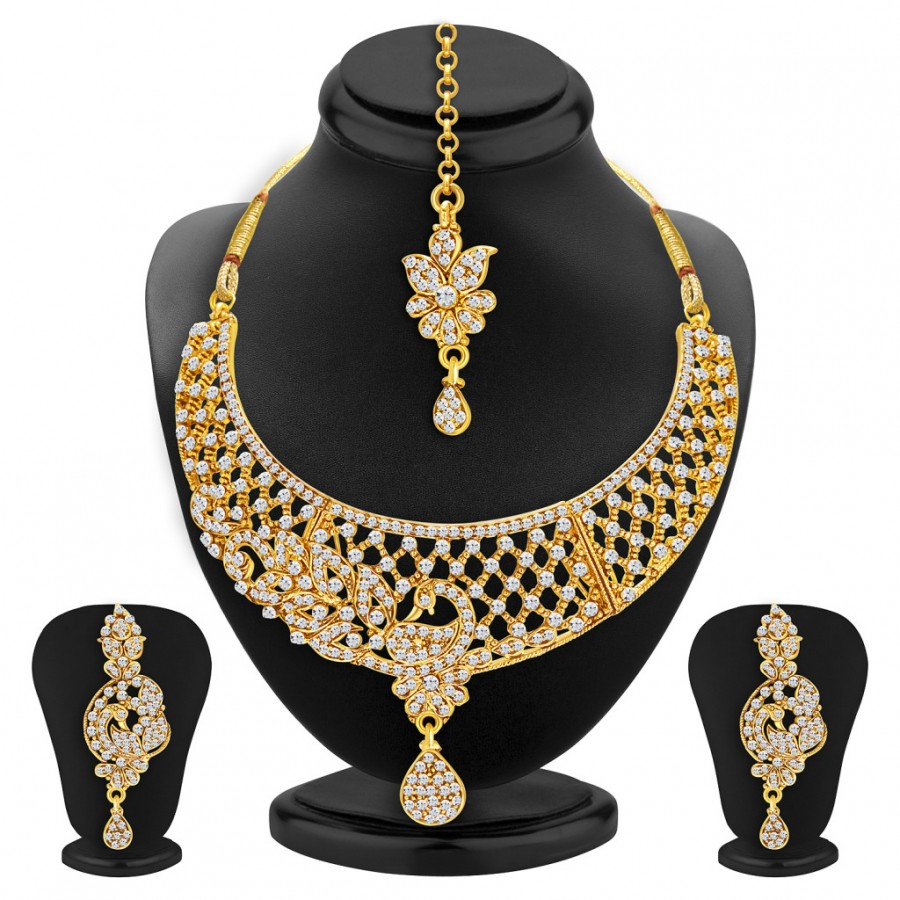 Buy Sukkhi Incredible Peacock Gold Plated AD Necklace Set For Women Online