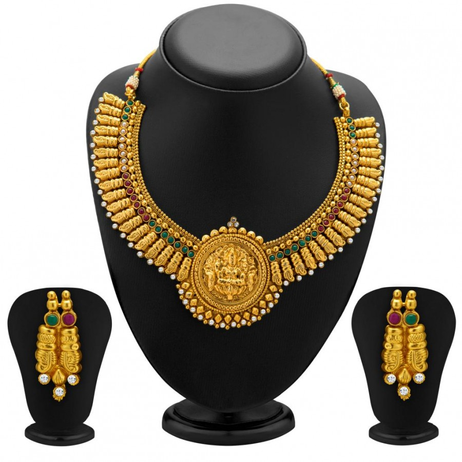 6c5e012fa4 Buy Sukkhi Designer Gold Plated Temple Jewellery Necklace Set for Women  Online